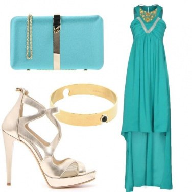 Outfit Cerimonia turchese