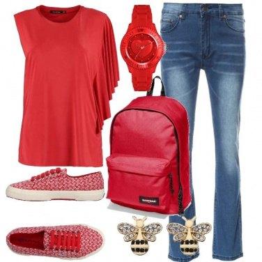 Outfit Rosso a lezione
