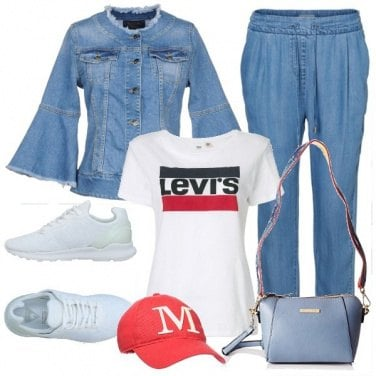 Outfit Maniche a campana di jeans