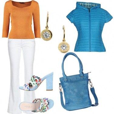 Outfit Turchese e arancio