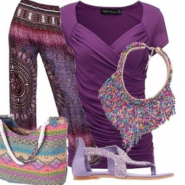 Outfit Purple & muticolor