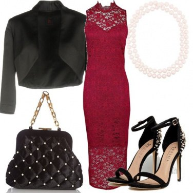 Outfit Pizzo amaranto