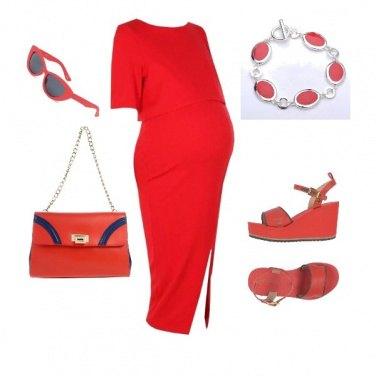 Outfit Attesa in rosso e blu