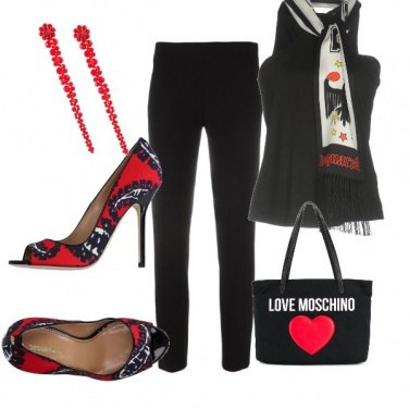 Outfit Black, Red and Moschino