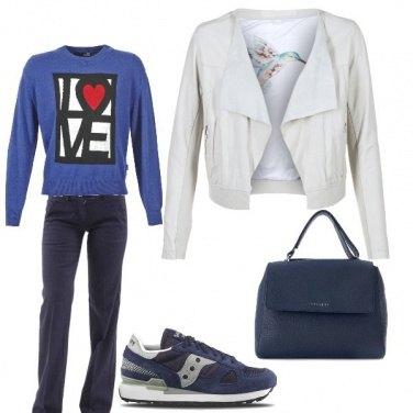 Outfit Casual con borsa glam