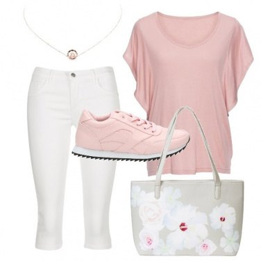 Outfit Sneakers e shopper a fiori
