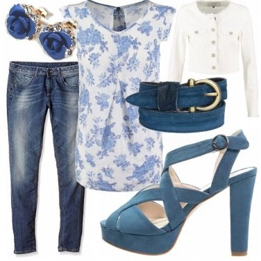 Outfit Denim romantico