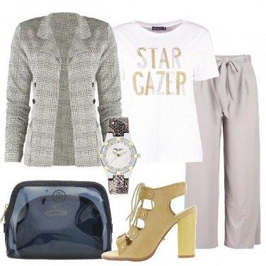 Outfit Blazer e t-shirt glitter