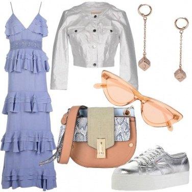 Outfit Vestito lungo a balze e denim metallico