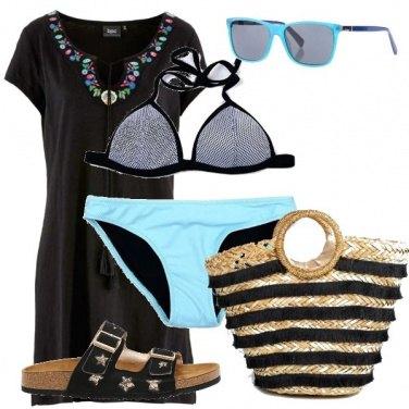 Outfit Nero e azzurro