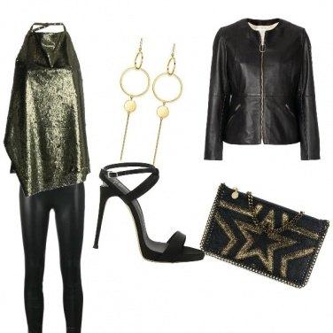 Outfit Pelle e oro