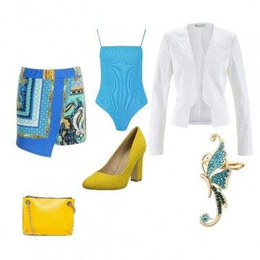 Outfit Turchese e giallo