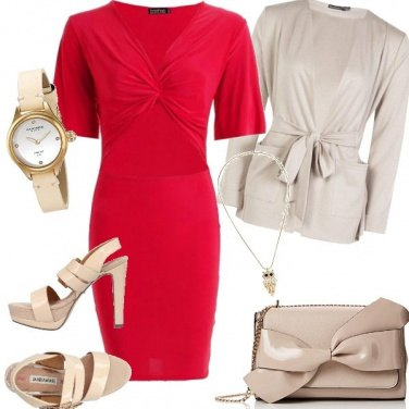 Outfit Glamour rosso e beige