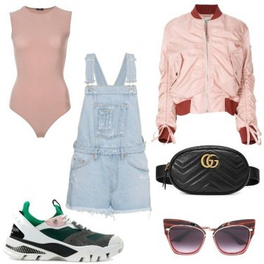 Outfit Il bomber rosa
