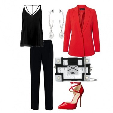 Outfit Red black and white