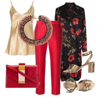 Outfit Gold and red chic party