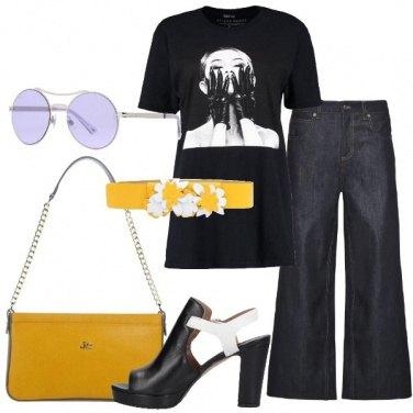 Outfit Stampa su t-shirt e contrasti