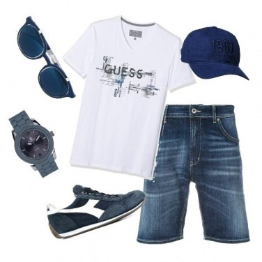 Outfit Bianco blu