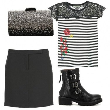 Outfit Combat boots e clutch glam