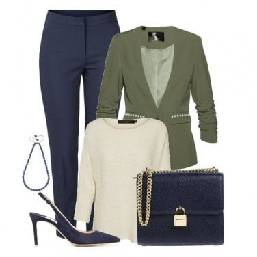 Outfit Azul y Verde olivo