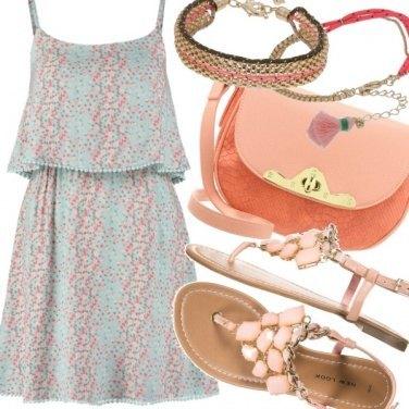 Outfit Aqua green & Peach