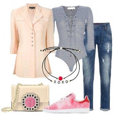 Outfit Body a righe e minibag
