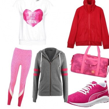Outfit Totale look Pink sportivo.