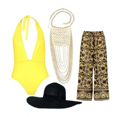 Outfit Gold party in piscina