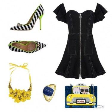 Outfit Giallo nero e blu