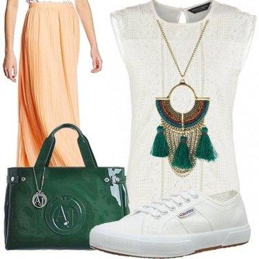 Outfit Albicocca & verde bosco