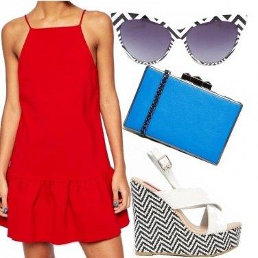 Outfit Rosso e chevron