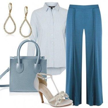 Outfit Camicia maschile e sandalo femminile