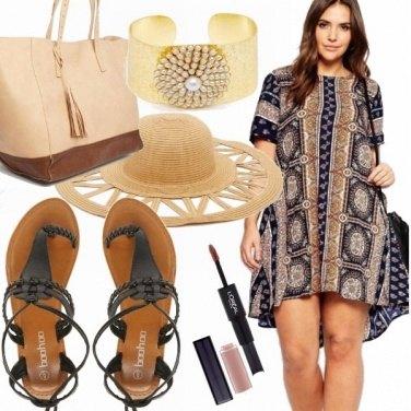 Outfit Sandali flat ed abito fantasia