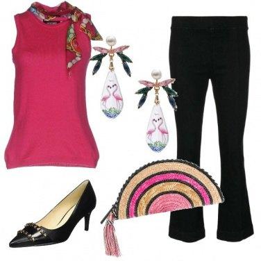 Outfit Fashion black & fucsia