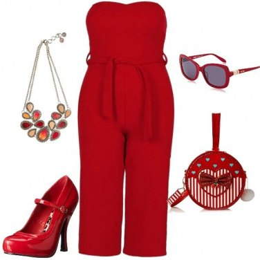 Outfit Jumpsuite rosso passione