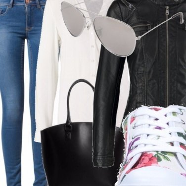 Outfit White Biker