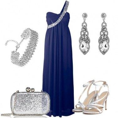 Outfit Testimone in Blu e Argento