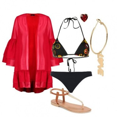 Outfit Red passion on the beach