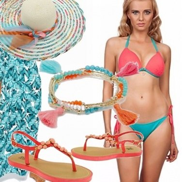 Outfit Turchese, corallo e sabbia