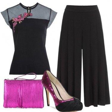 Outfit Paillettes, frange e fiori