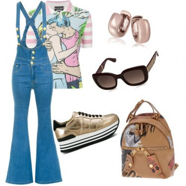 Outfit Salopette in jeans