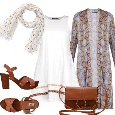 Outfit Bianco marrone e oro
