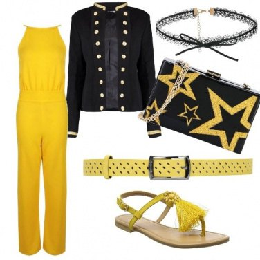 Outfit Ocra e stelle