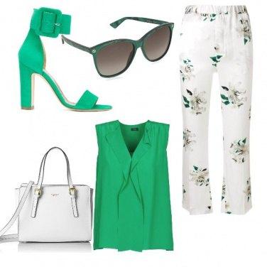 Outfit White e green