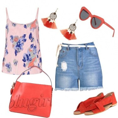 Outfit Il rosso col rosa