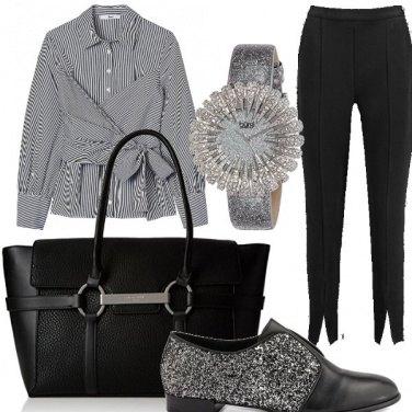 Outfit Chic ufficio rigato