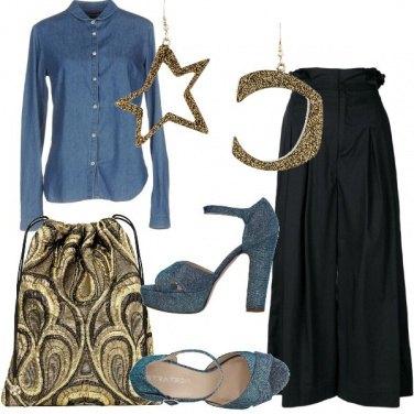 Outfit Denim e lamé