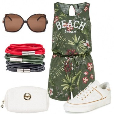 Outfit Floreale e sneakers
