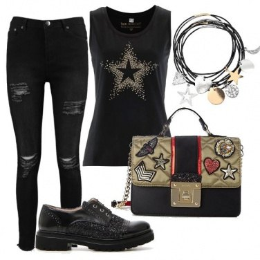 Outfit Total black rock