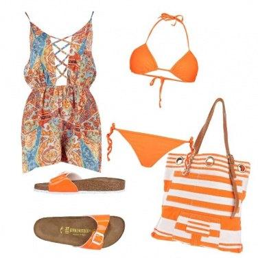 Outfit Al mare in arancio